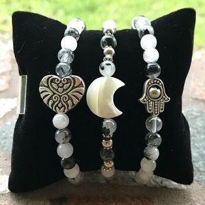 Black & white quartz moon hamsa heart bracelets